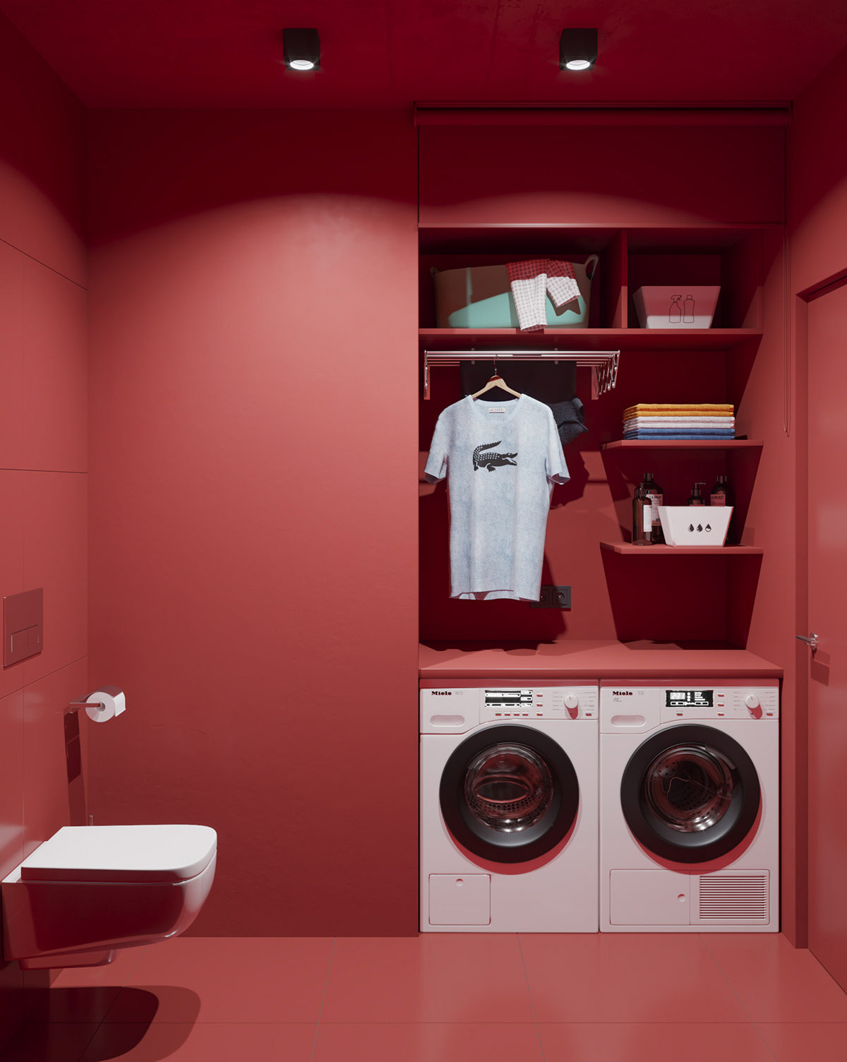 red-laundry-room