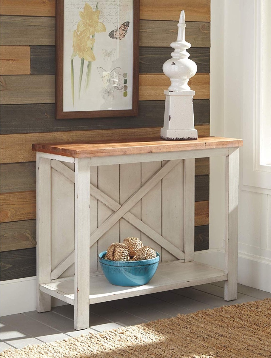 rustic-farmhouse-console-table-with-distressed-white-finish-and-slat-style-body-with-thick-wood-top
