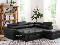 sectional-pull-out-sleeper-sofa-black-faux-leather