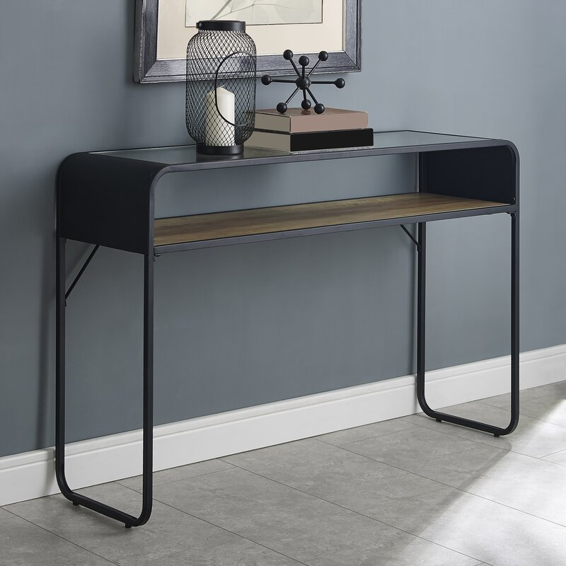 sophisticated-console-table-with-matte-black-rounded-frame-wood-shelf-and-glass-top