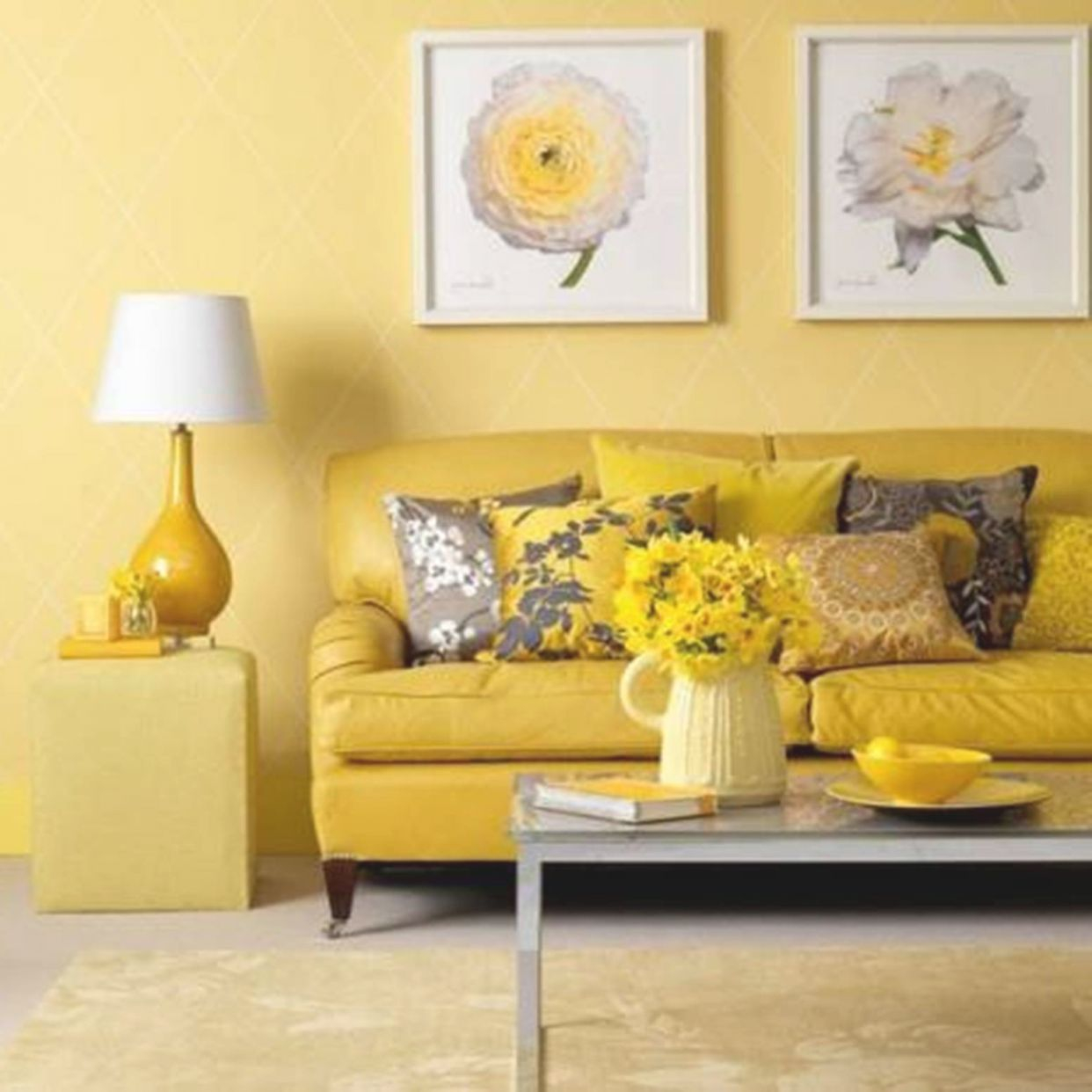 Sweet And Beautiful Wall Décor For Living Room - Midcityeast throughout Unique Yellow Walls Living Room Interior Decor