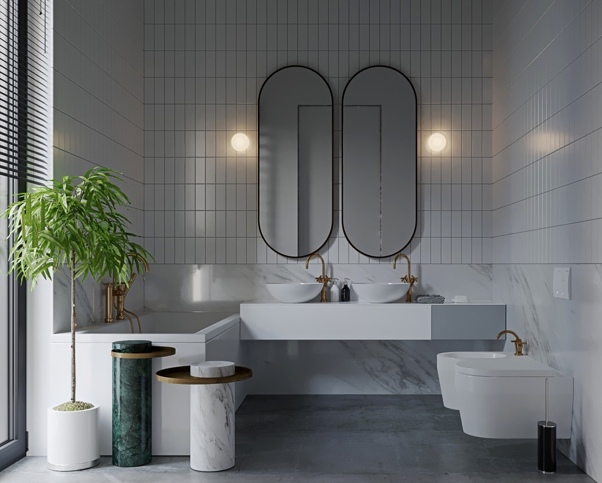 Modern Grey Dan White Bathrooms