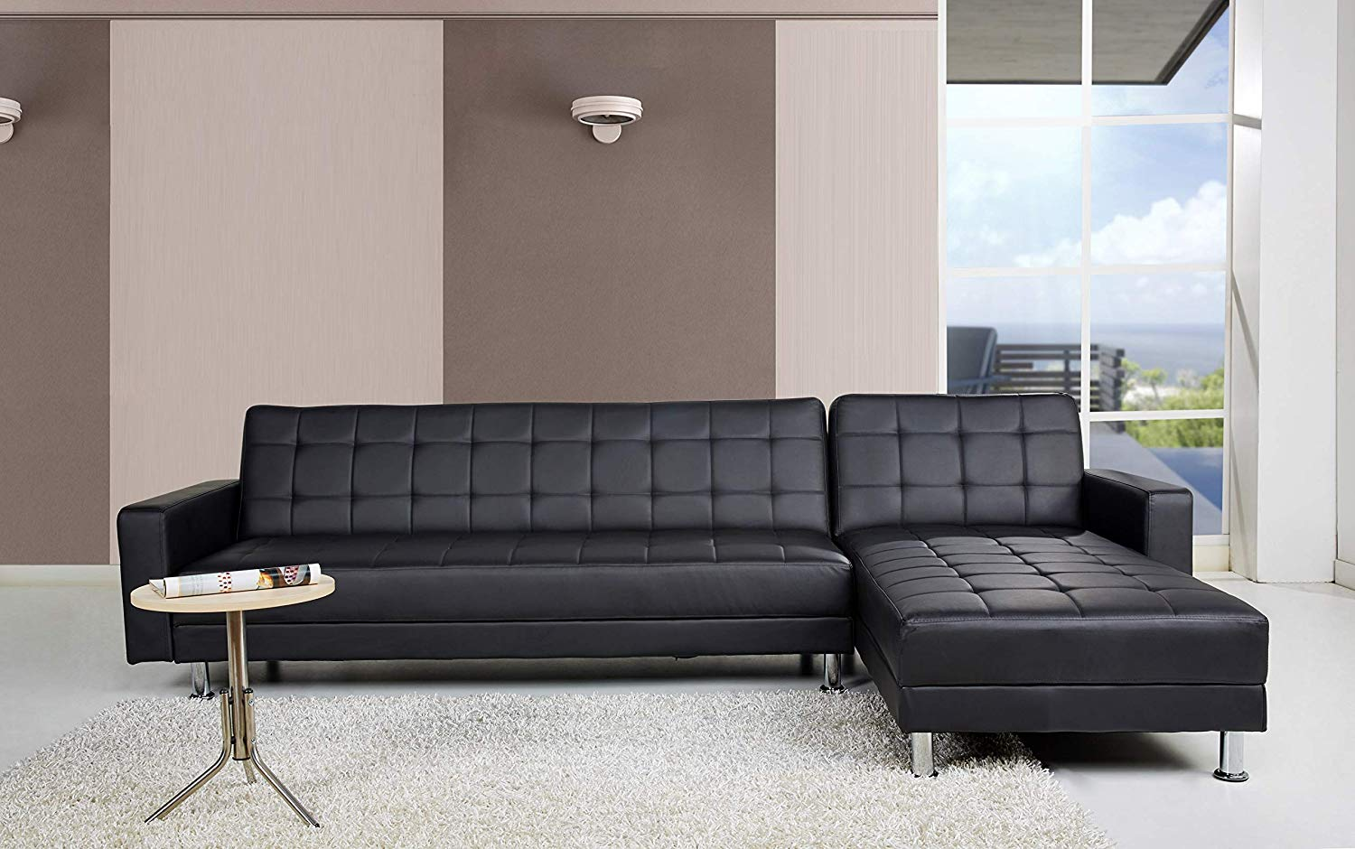 Tufted Leather Sectional Sleeper Sofa