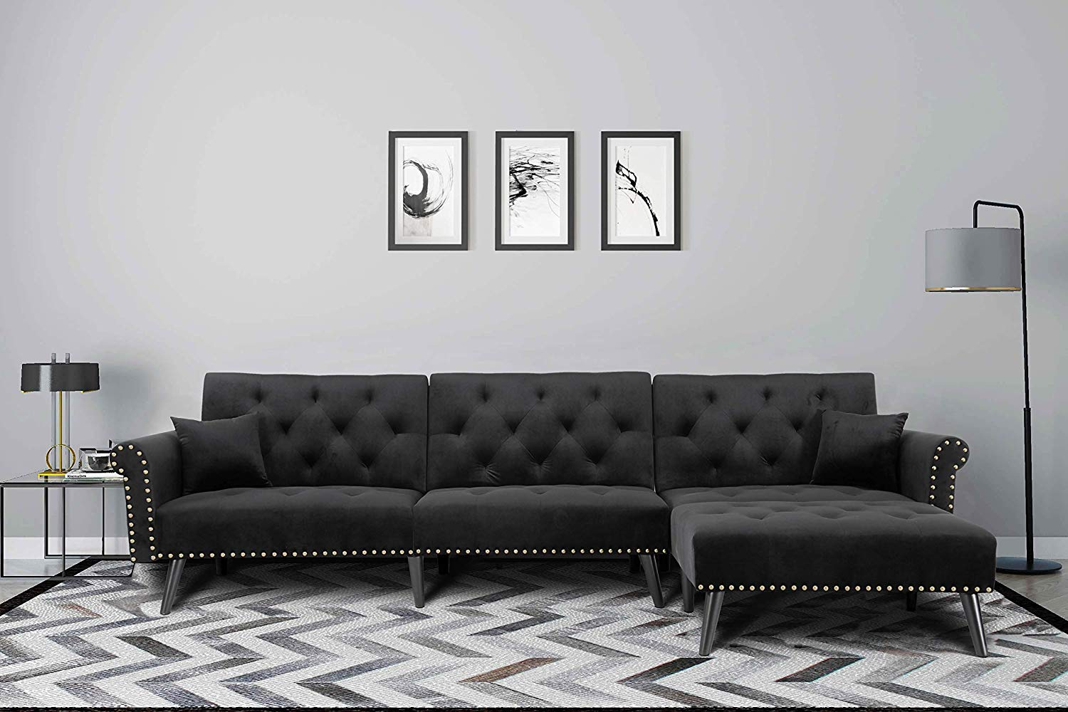 unique cheap sectional sleeper sofa with diamond tufting ...