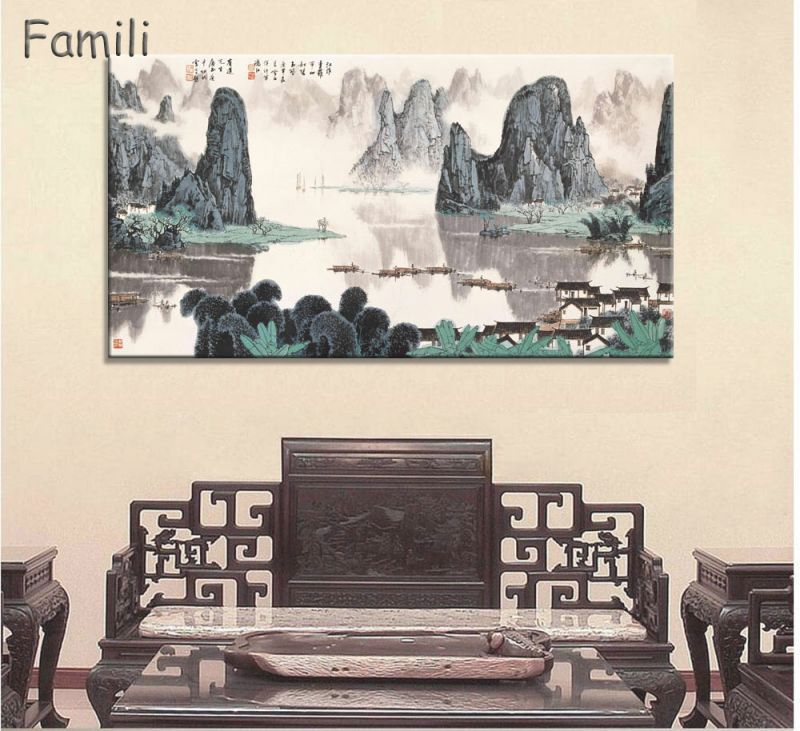 Us $8.24 25% Off|Large Wall Art Canvas Prints Chinese Mountain And River Painting Picture Hall Living Room Decor Canvas Art Wall Poster Print 6-In inside Chinese Living Room Decor