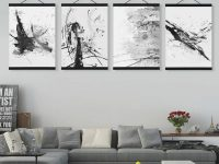 Us $8.36 47% Off|Abstract Chinese Ink Splash Wooden Framed Canvas Paintings Modern Vintage Living Room Decor Wall Art Print Picture Poster Scroll-In in Awesome Chinese Living Room Decor