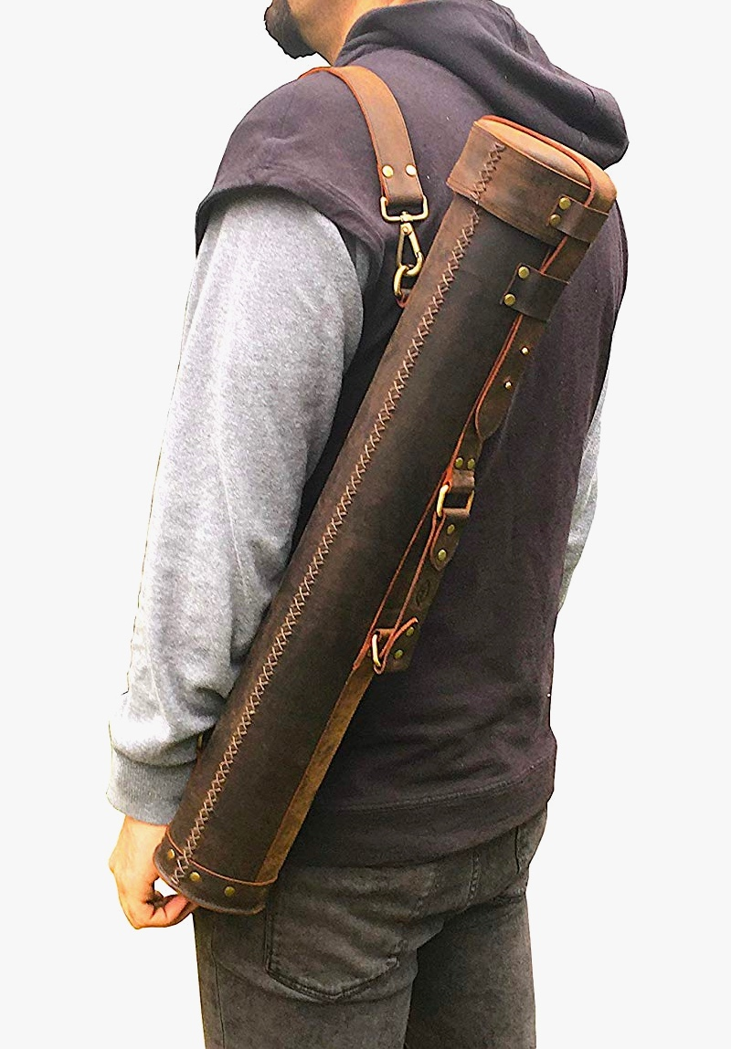 useful-artisanal-gifts-for-a-architect-leather-document-tube-with-shoulder-strap