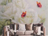 White Rose Butterfly Decoration 3D Photo Wallpaper Silk Living Room Wall Covering Mural Wallpaper For Living Room Hotel Office Deskdrop Wall Car with regard to Wallpaper Decoration For Living Room