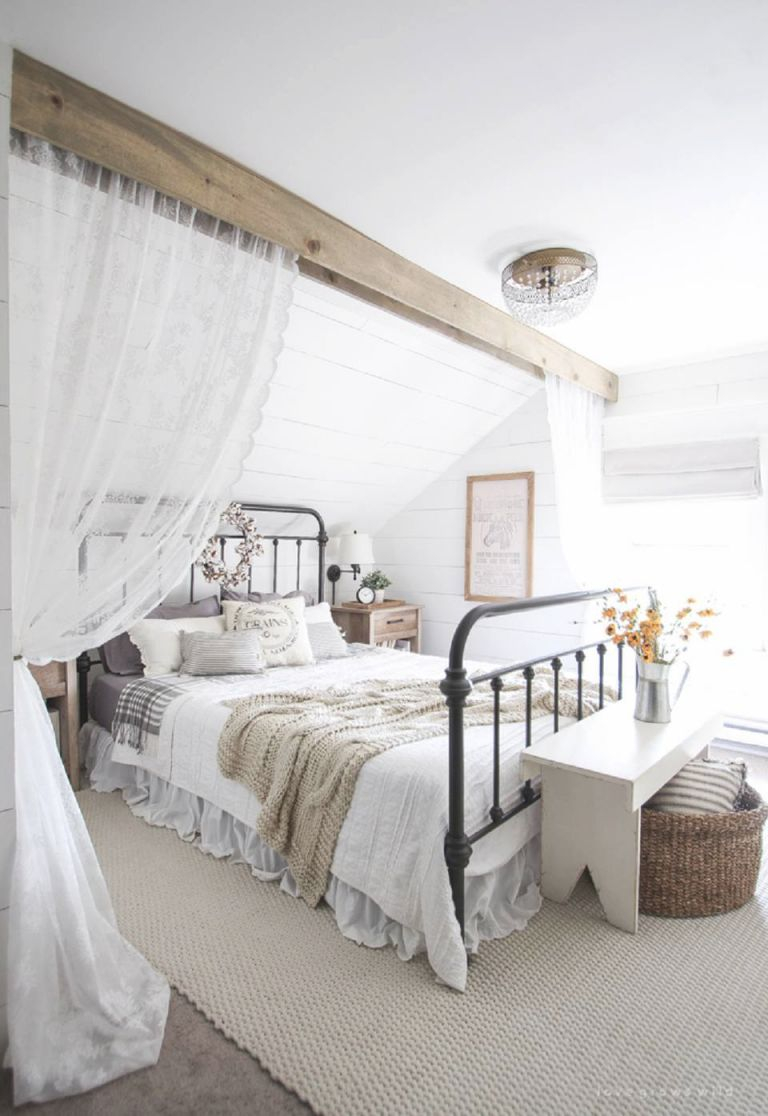 50 Decorating Ideas For Farmhouse-Style Bedrooms intended for Lovely Feminine Bedroom Decorating Ideas