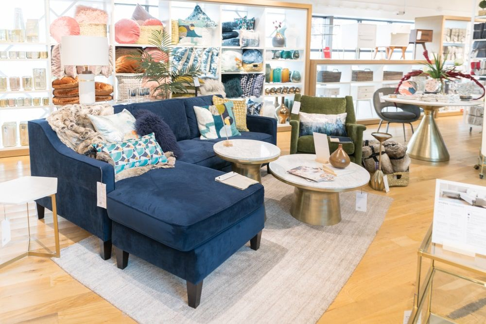 west elm furniture on display at a store in New Jersey, NJ.