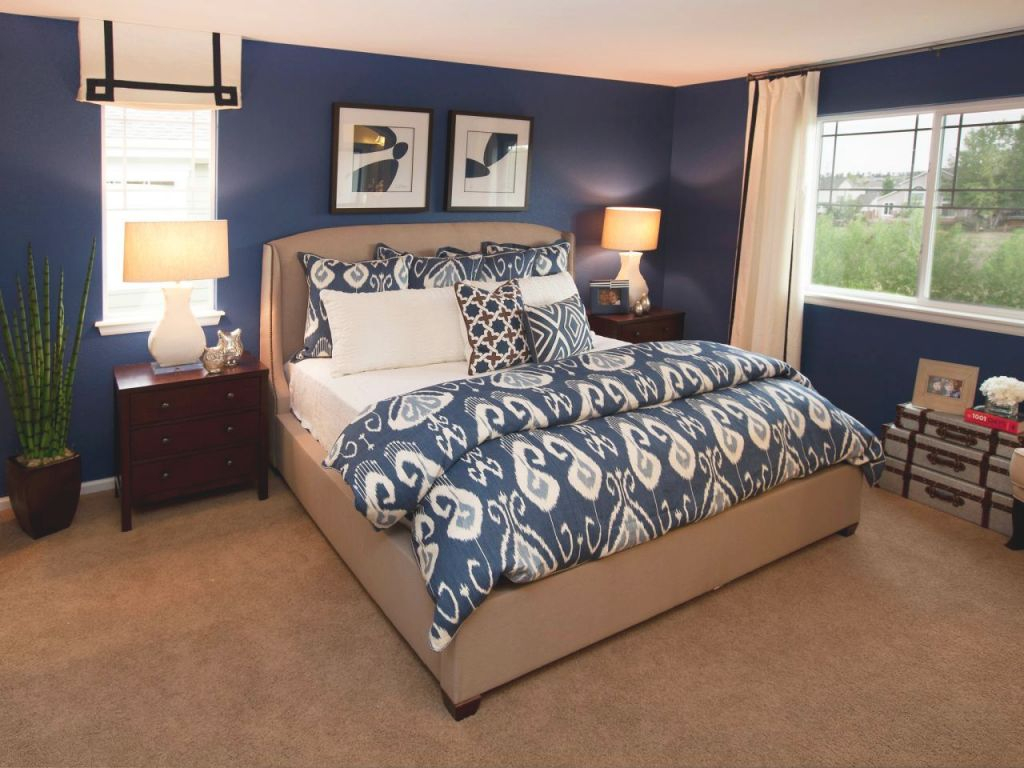 Contemporary Dark Blue And Taupe Master Bedroom | Hgtv with Beautiful Taupe Bedroom Decorating Ideas