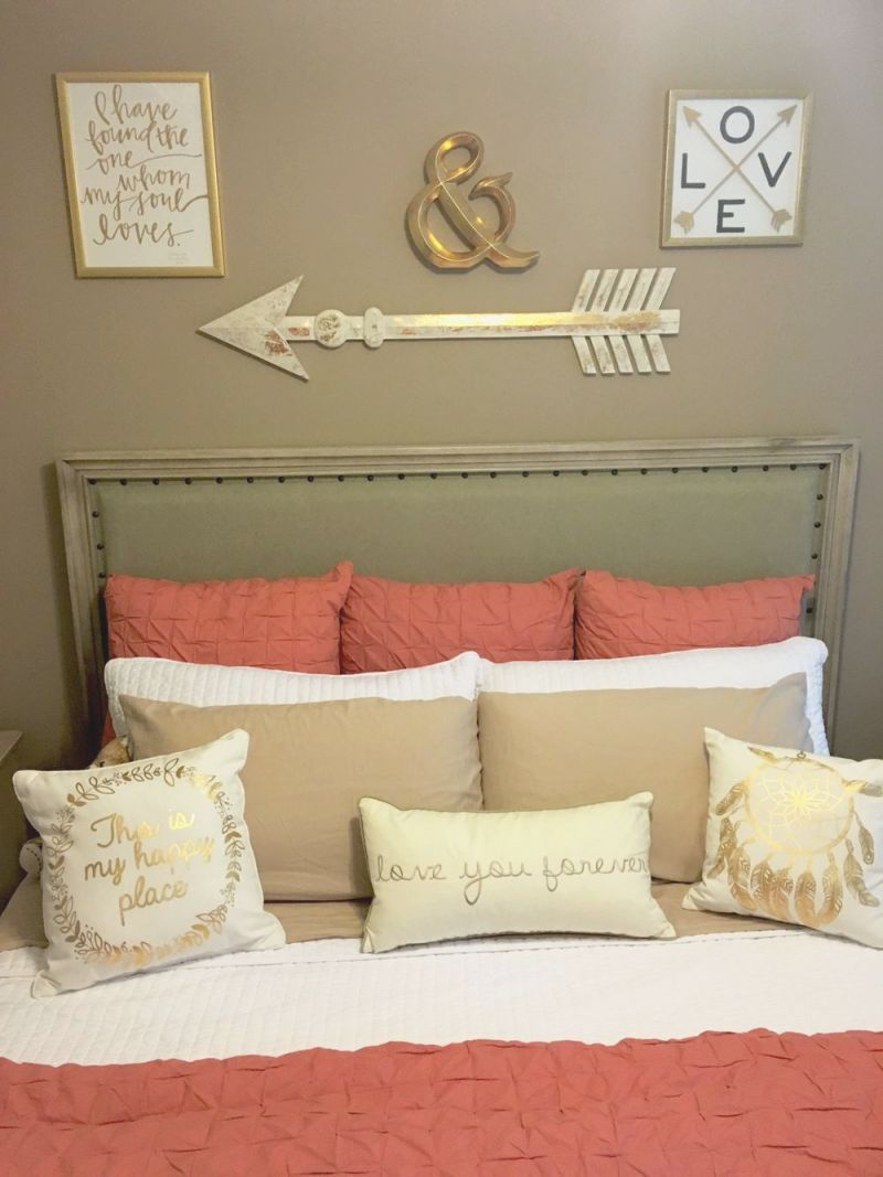 Coral, Taupe, And White Bedroom With Gold Accents | Home with regard to Taupe Bedroom Decorating Ideas