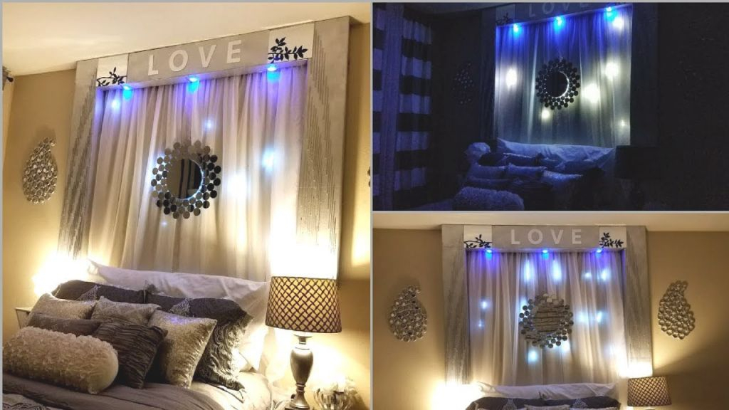 Diy Over The Bed Wall Decor With Lightings| Wall Decorating Ideas For Bedrooms! in New Wall Decor Ideas For Bedroom Diy