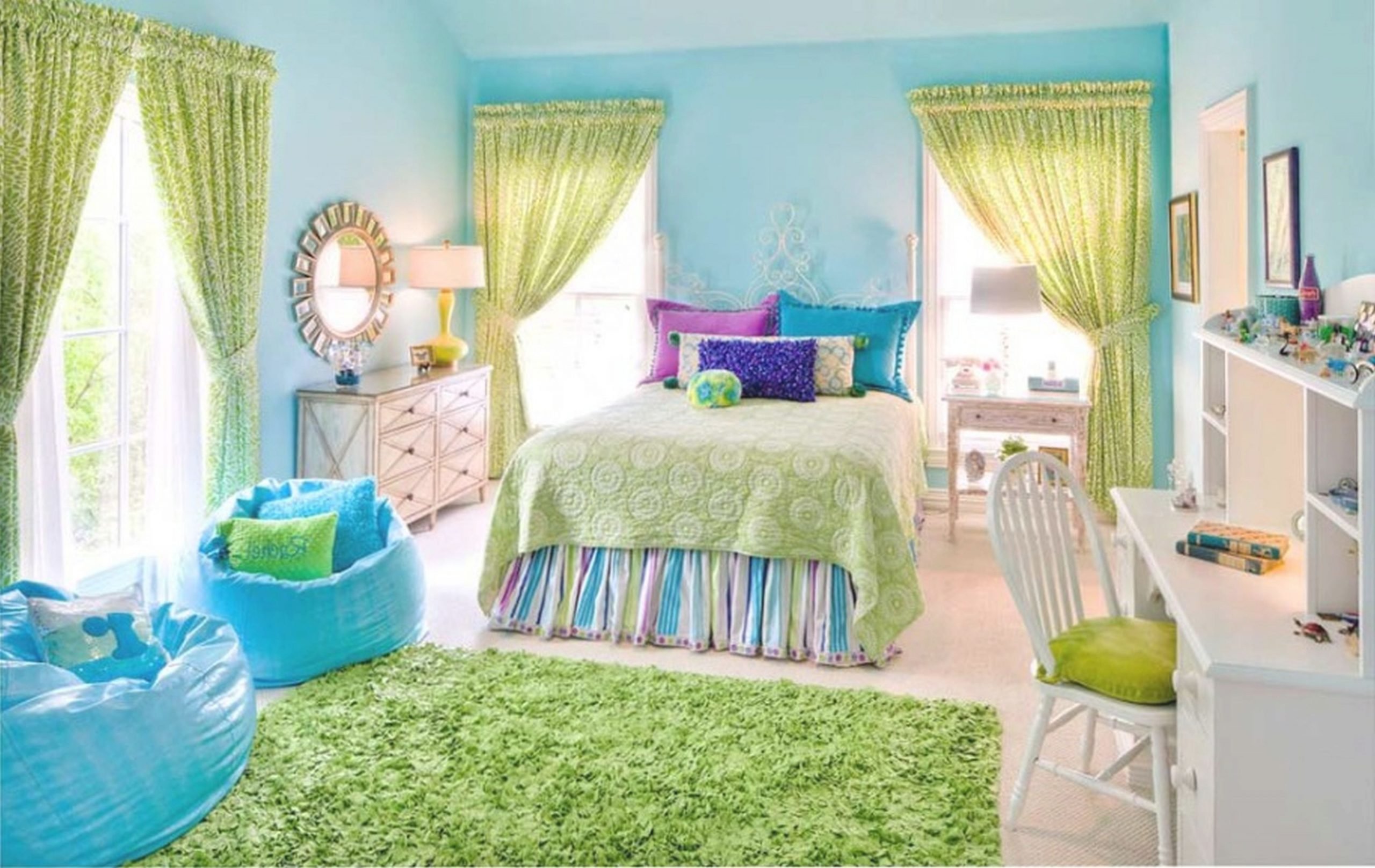 Kids Bedroom, : Gorgeous Blue And Green Kid Bedroom Design in Inspirational Blue And Green Bedroom Decorating Ideas