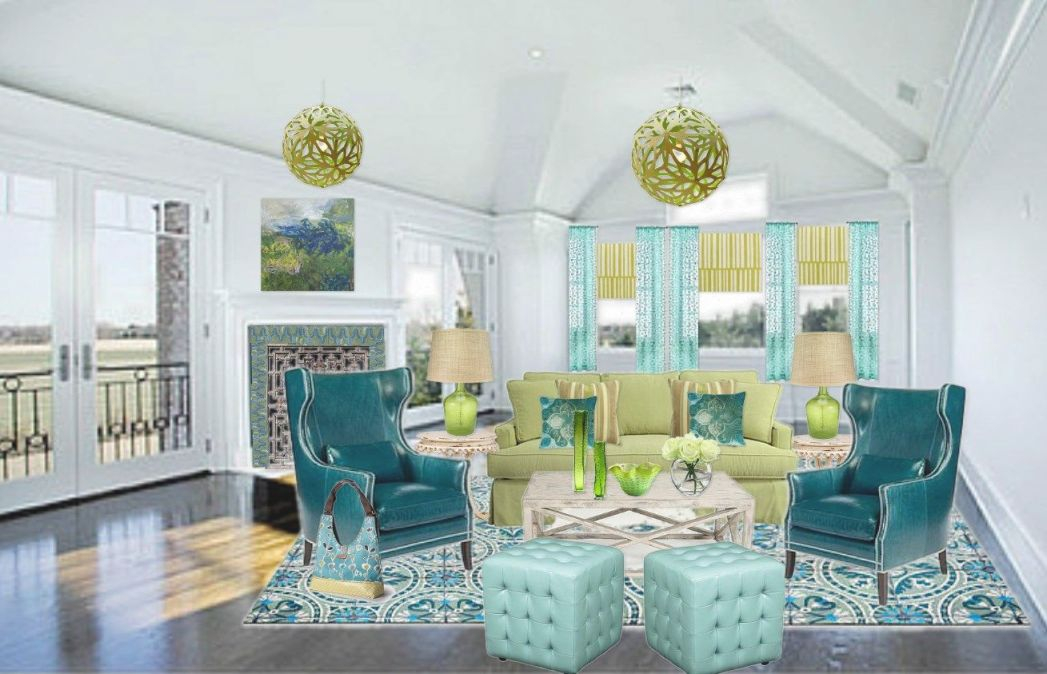 Living Rooms With Yellow Blue Green Orange | Blue Green And inside Blue And Green Bedroom Decorating Ideas
