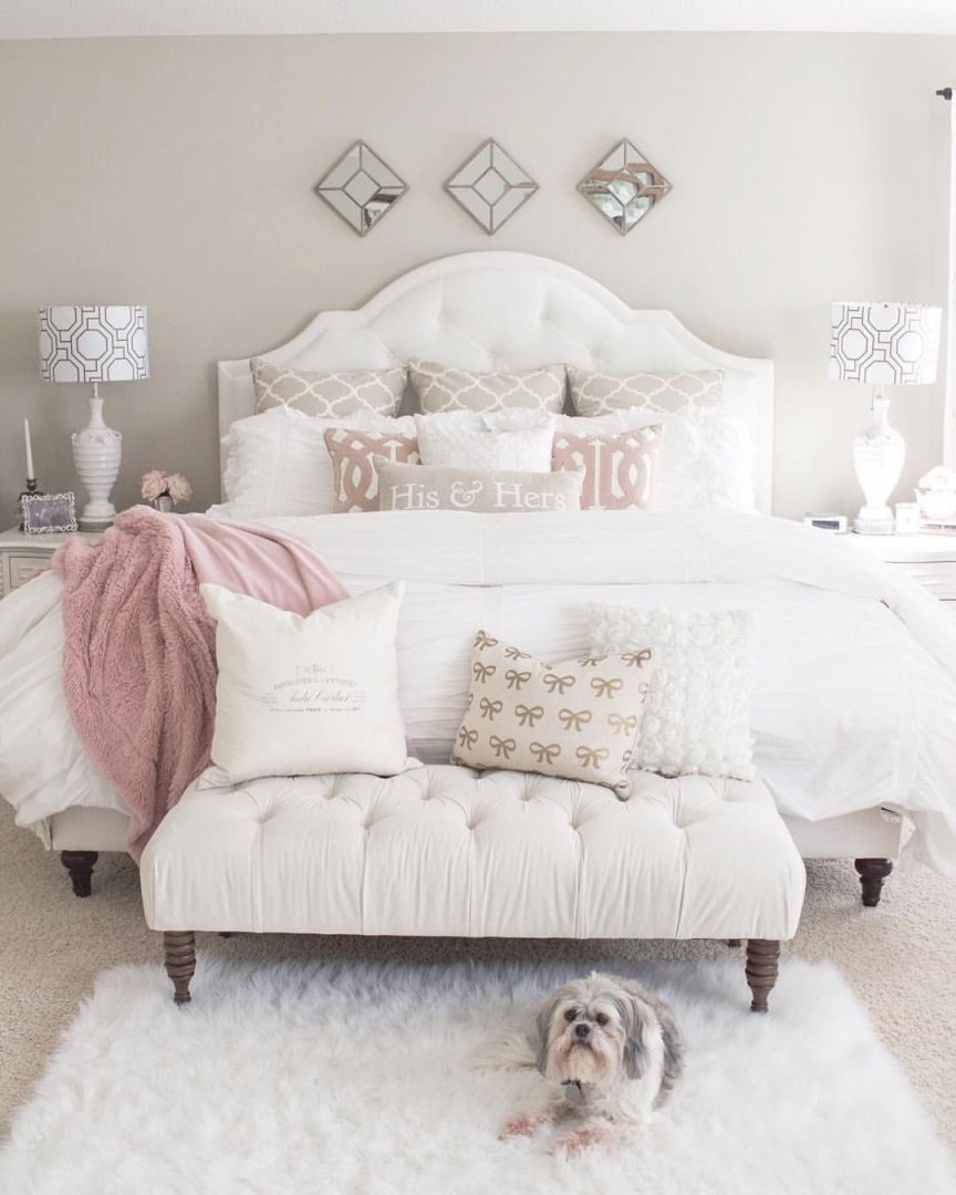 Master Bedroom, Elegant, Modern, Bench, Foot Board, Pink And with regard to Master Bedroom Wall Decor Ideas