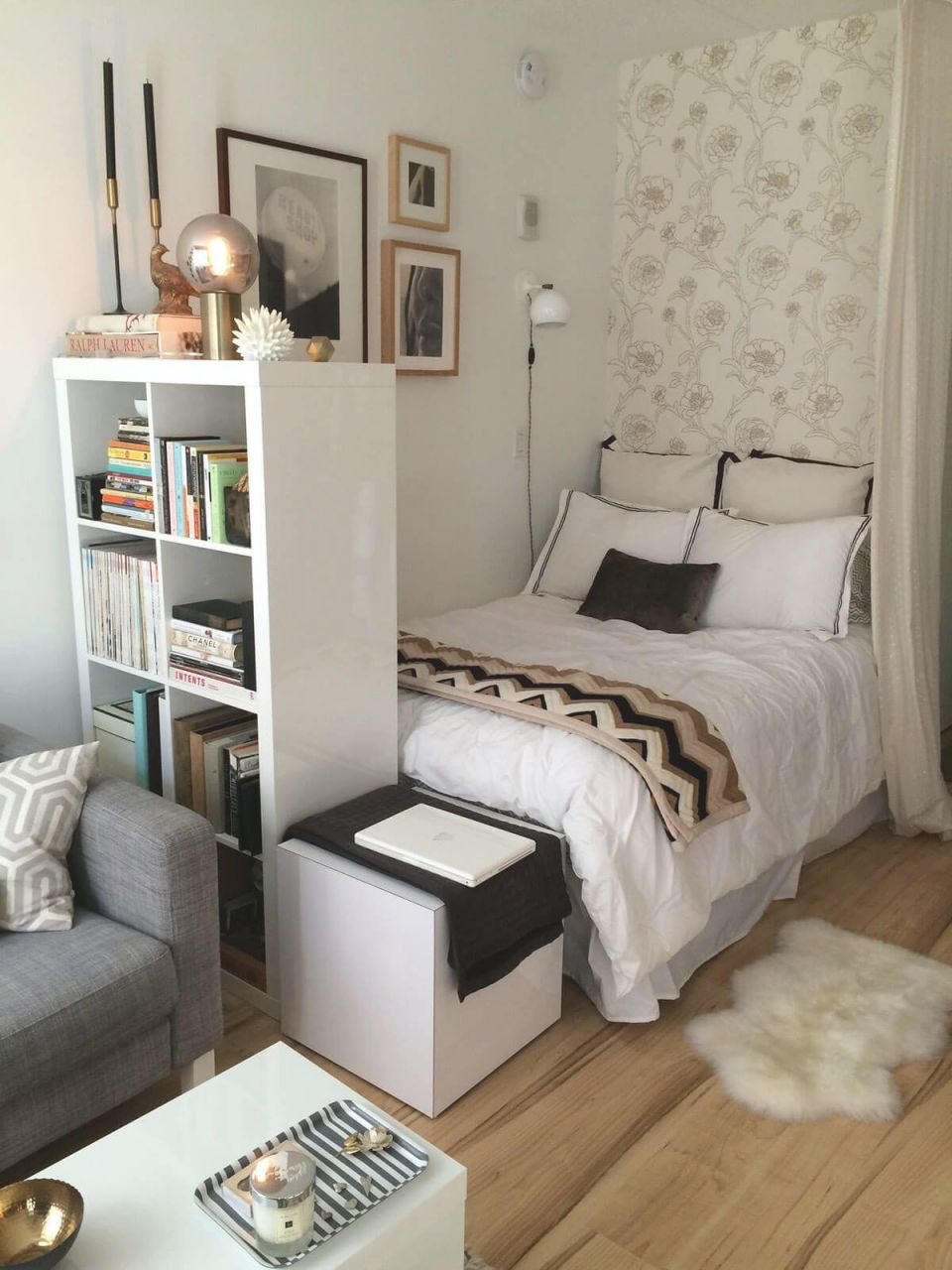 Small Bedroom Ideas With A Tall Bookshelf | Apartment Decor throughout Small Bedroom Decorating Ideas