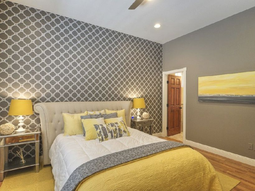 Chic Yellow And Grey Bedroom. | Grey Bedroom Decor, Grey intended for Beautiful Black And Grey Bedroom Decorating Ideas