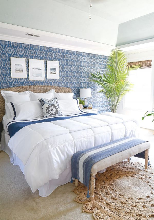 Coastal Blues Master Bedroom Makeover – Sand And Sisal regarding Luxury Seaside Bedroom Decorating Ideas
