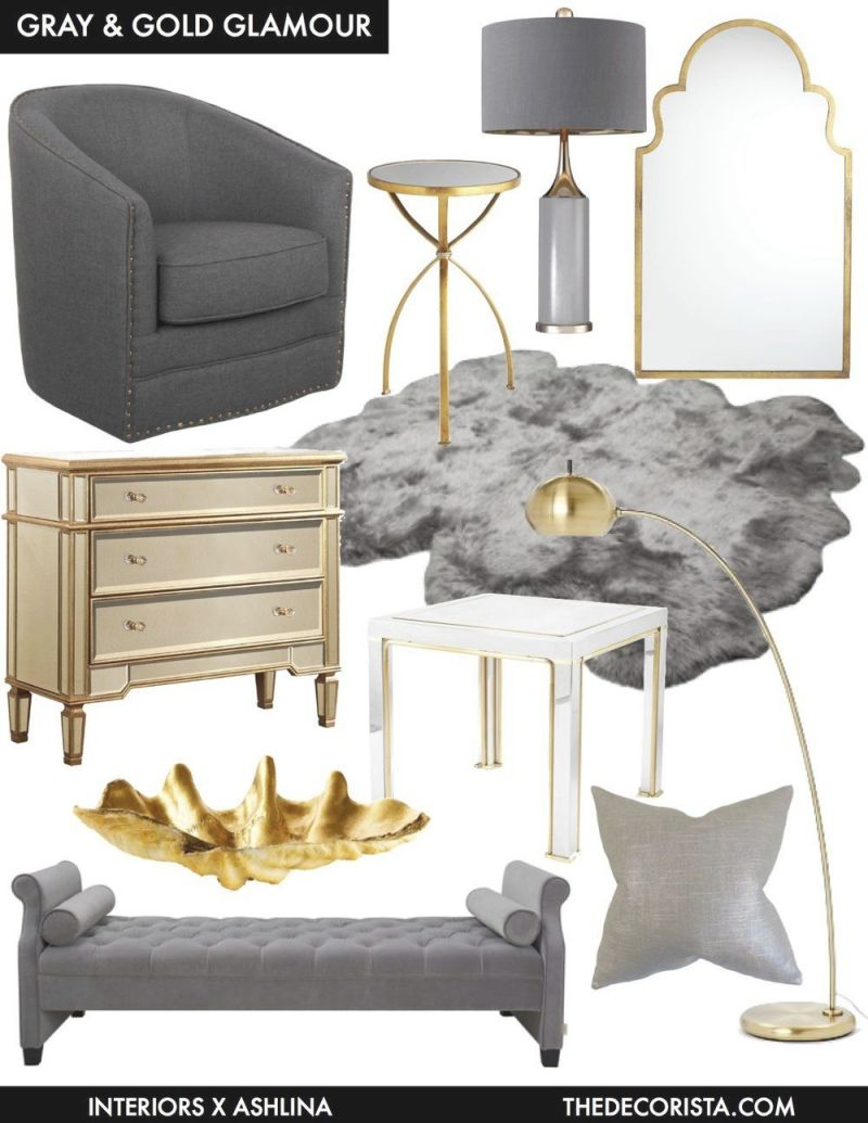 Color Crushing: Decorating With Gray And Gold For Glamour in Beautiful Black And Grey Bedroom Decorating Ideas