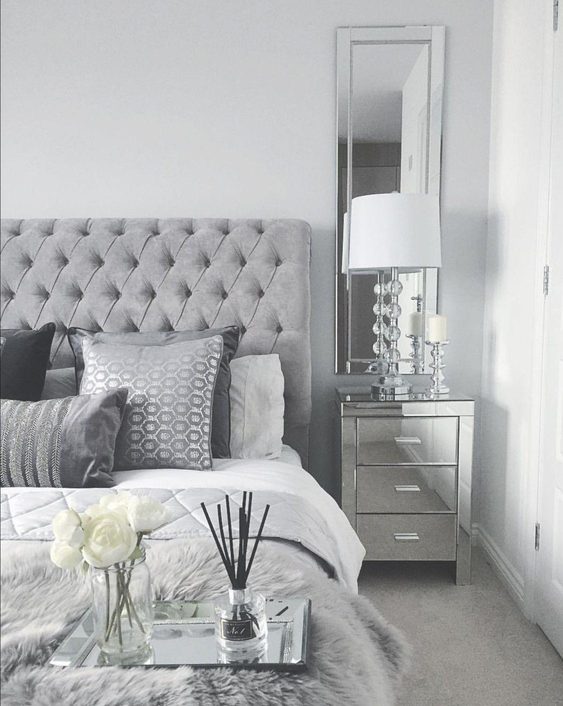Grey Bedroom Inspo. Grey Interior Bedroom. Silver Mirror inside Black And Grey Bedroom Decorating Ideas