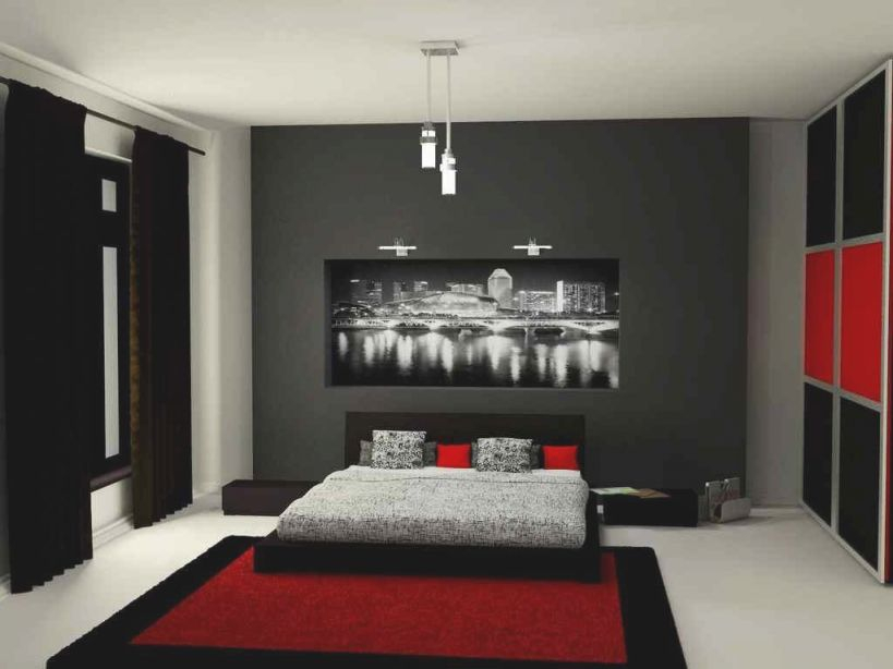 Red And Black Bedroom Design Ideas | Black Bedroom Decor for Beautiful Black And Grey Bedroom Decorating Ideas