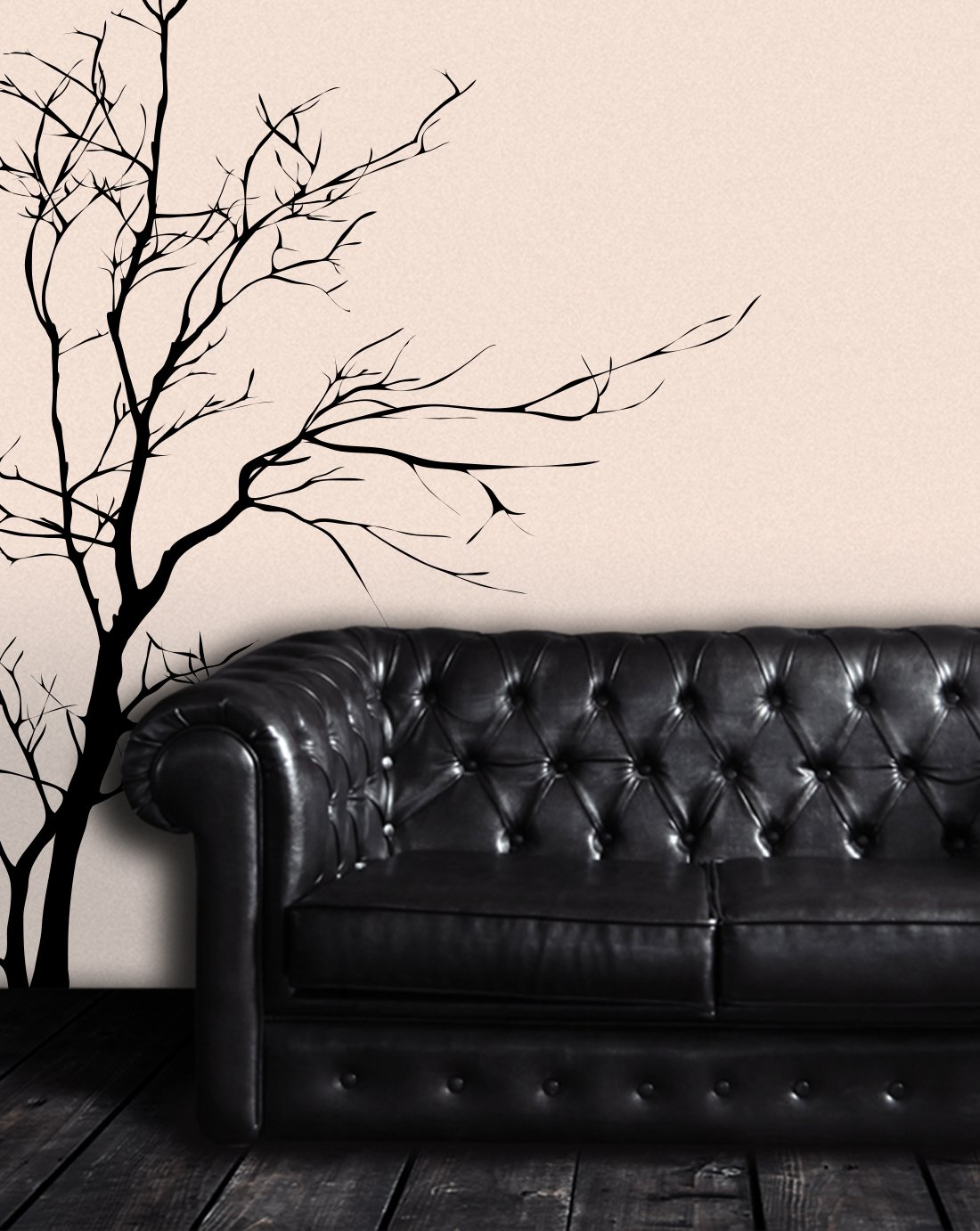 Black tree mural in a study or waiting room