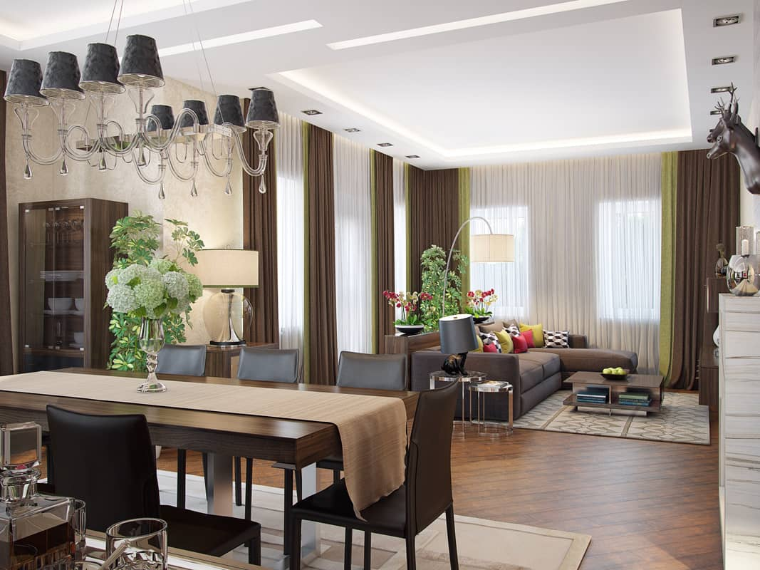 Classic dining and living room open space with wooden laminate