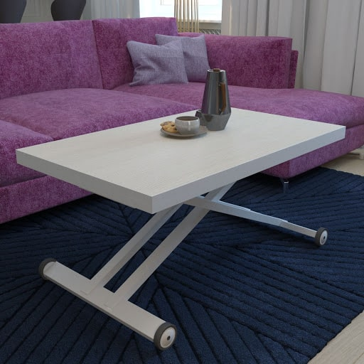 Living room with adjustable coffee table