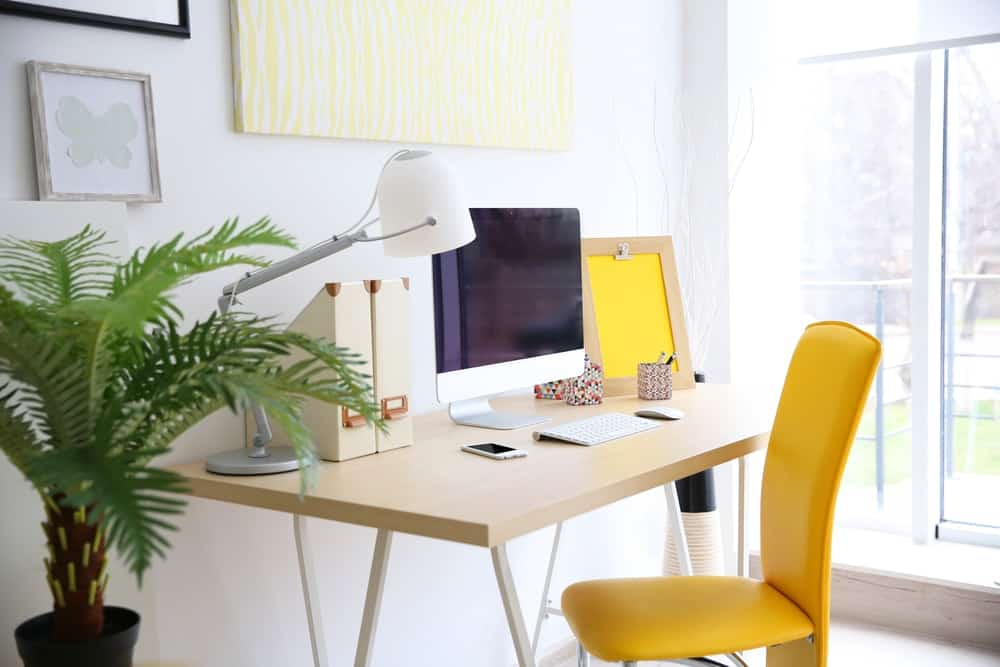 A stylish and bright home office.