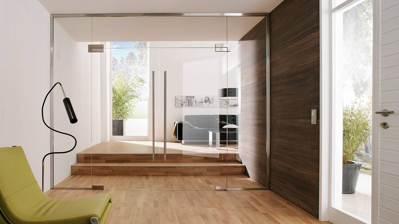 Interior Glass Doors: Best Design Ideas and Application. Laminated floor and planked wall
