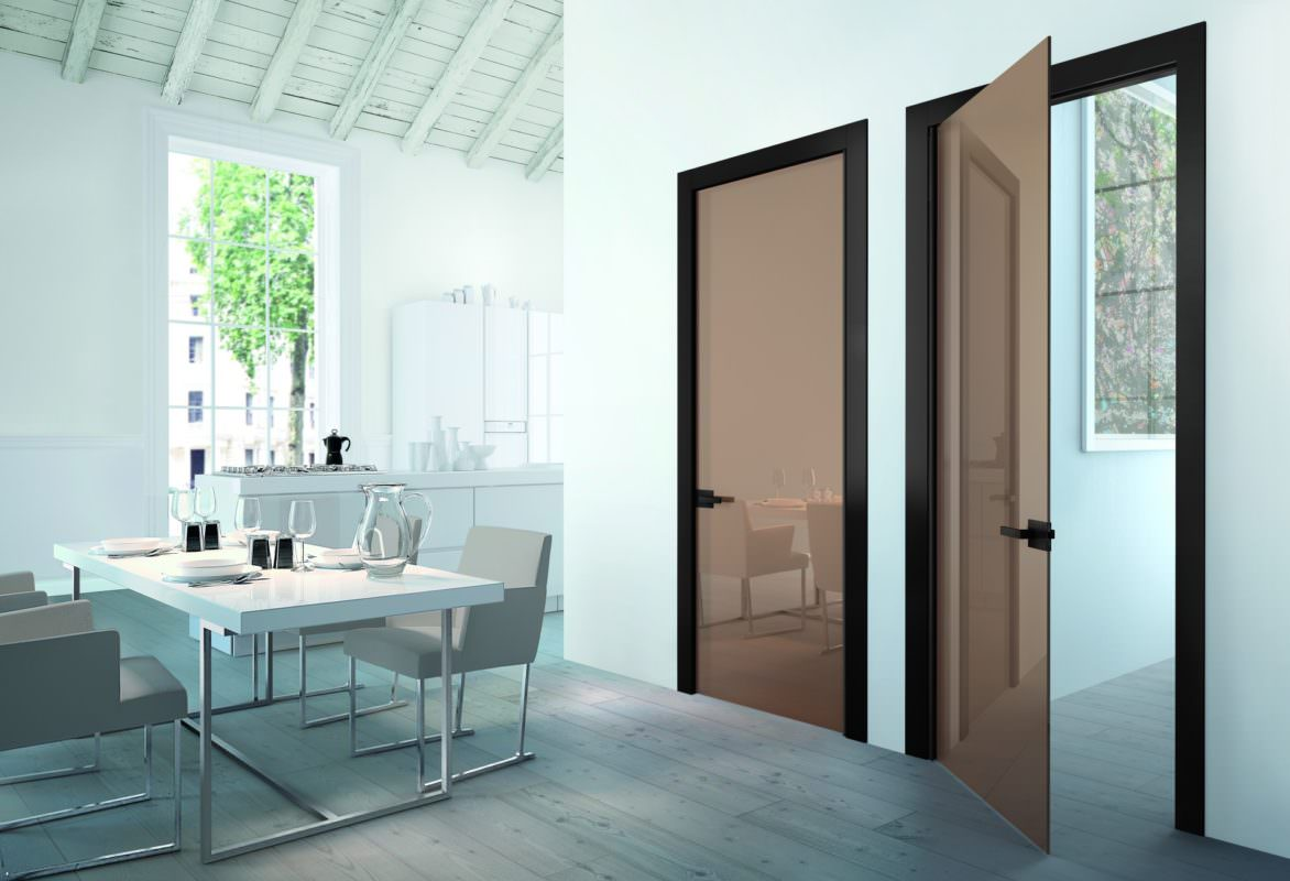 Brown glass doors at the dining room
