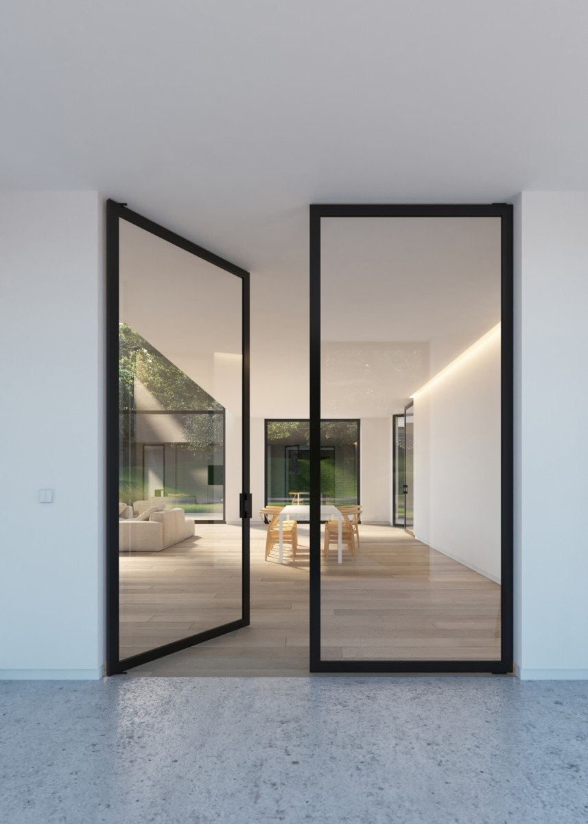 black accent glass doors for white modern interior