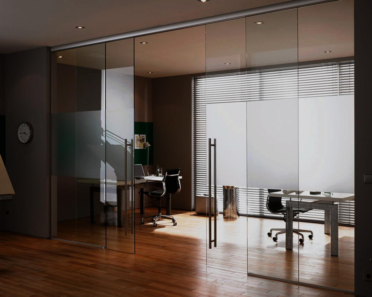 Negotiation room zoned with glass wall