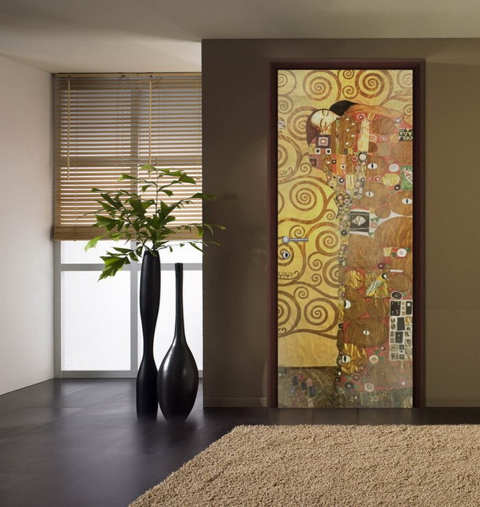 Picture on the glass doors at the ethnic Oriental styled interior
