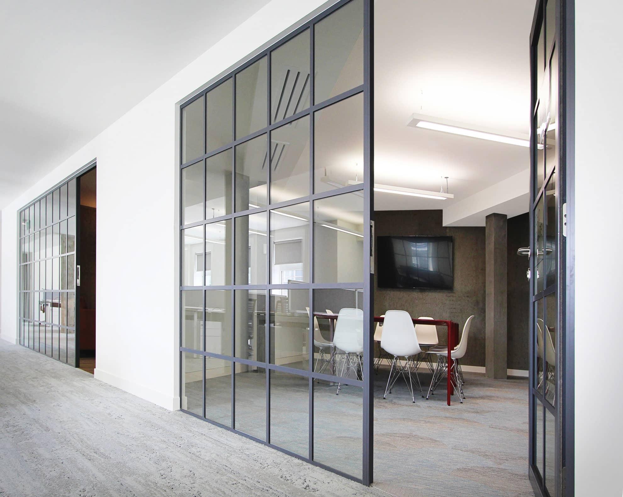 Sash glass wall panel as zoning method