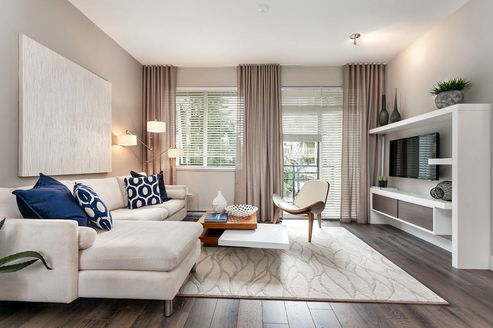 Best Modern Living Room Design Trends 2020. Beige curtains for great contemporary room