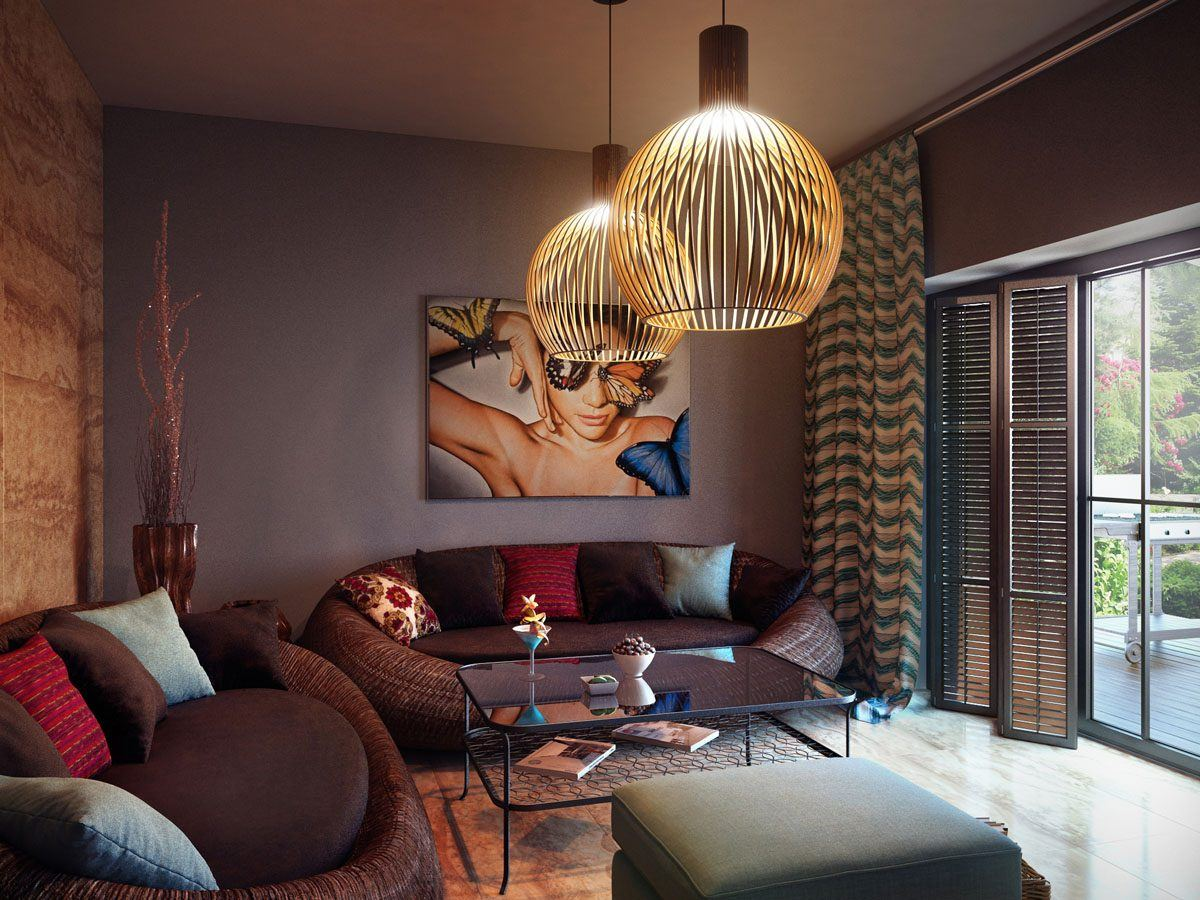 Best Modern Living Room Design Trends 2020. Coffee looking interior in dark chocolate tones and gilded shades of chandeliers