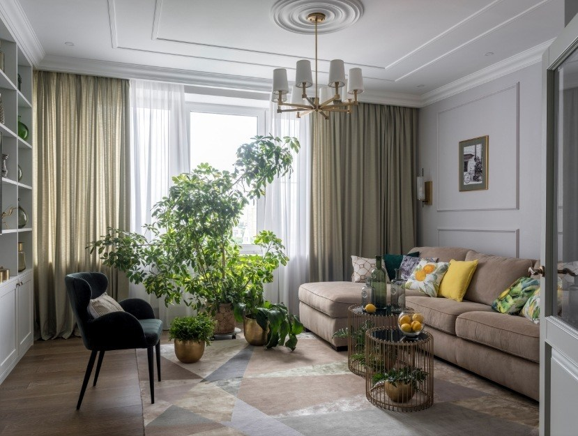 Best Modern Living Room Design Trends 2020. Classic setting with thick curtains and white walls