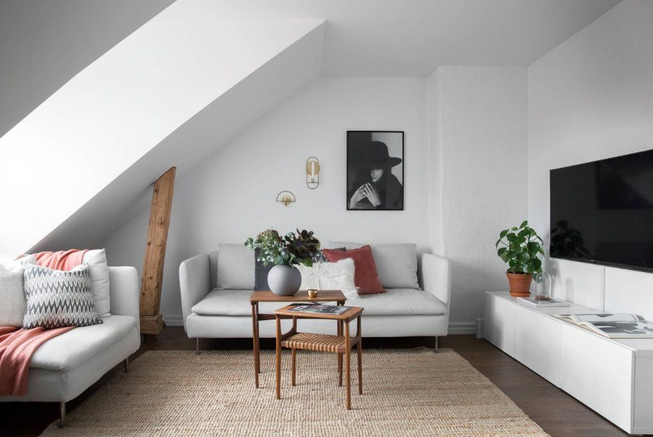 Best Modern Living Room Design Trends 2020. Loft area with beveled white ceiling and same colored walls
