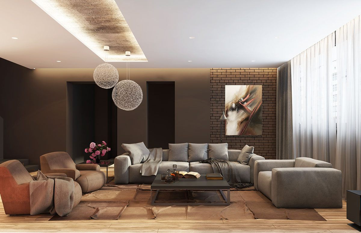 Stunning idea of the modern living room design with starburst chandeliers and overall brown scheme