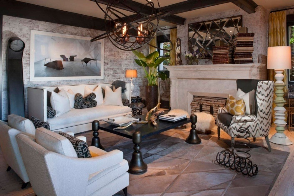 Great boho interior with massive wooden furniture and decorative elements