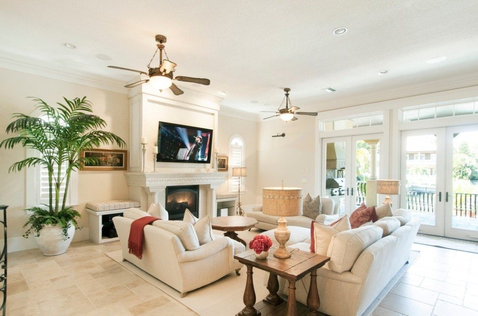 Relaxing light color designed Mediterranean living room