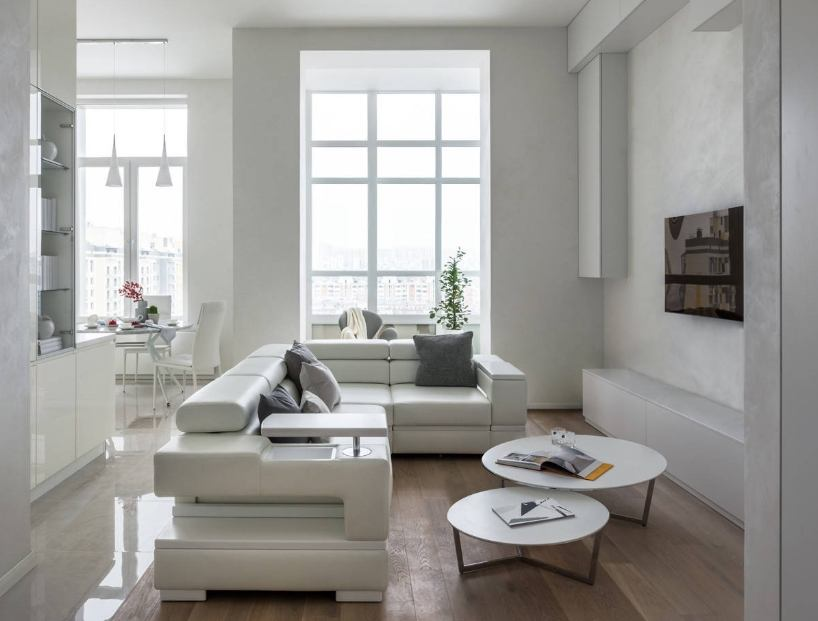 Great streamline design of the living with technological leather upholstered white sofa