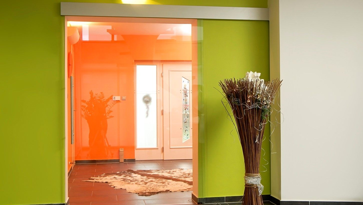 Interior Glass Doors: Best Design Ideas and Application Colorful and spacious hall