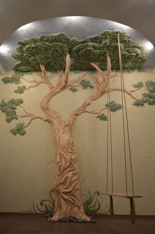 Tree wall decals and tree murals: some ideas for your interior. Beautiful home tree with a wooden swing