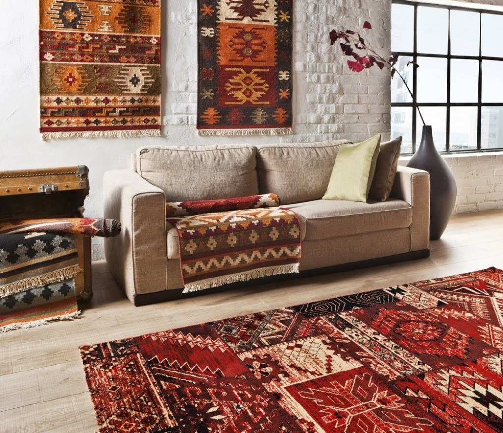 Patchwork rugs for decoration of the living room