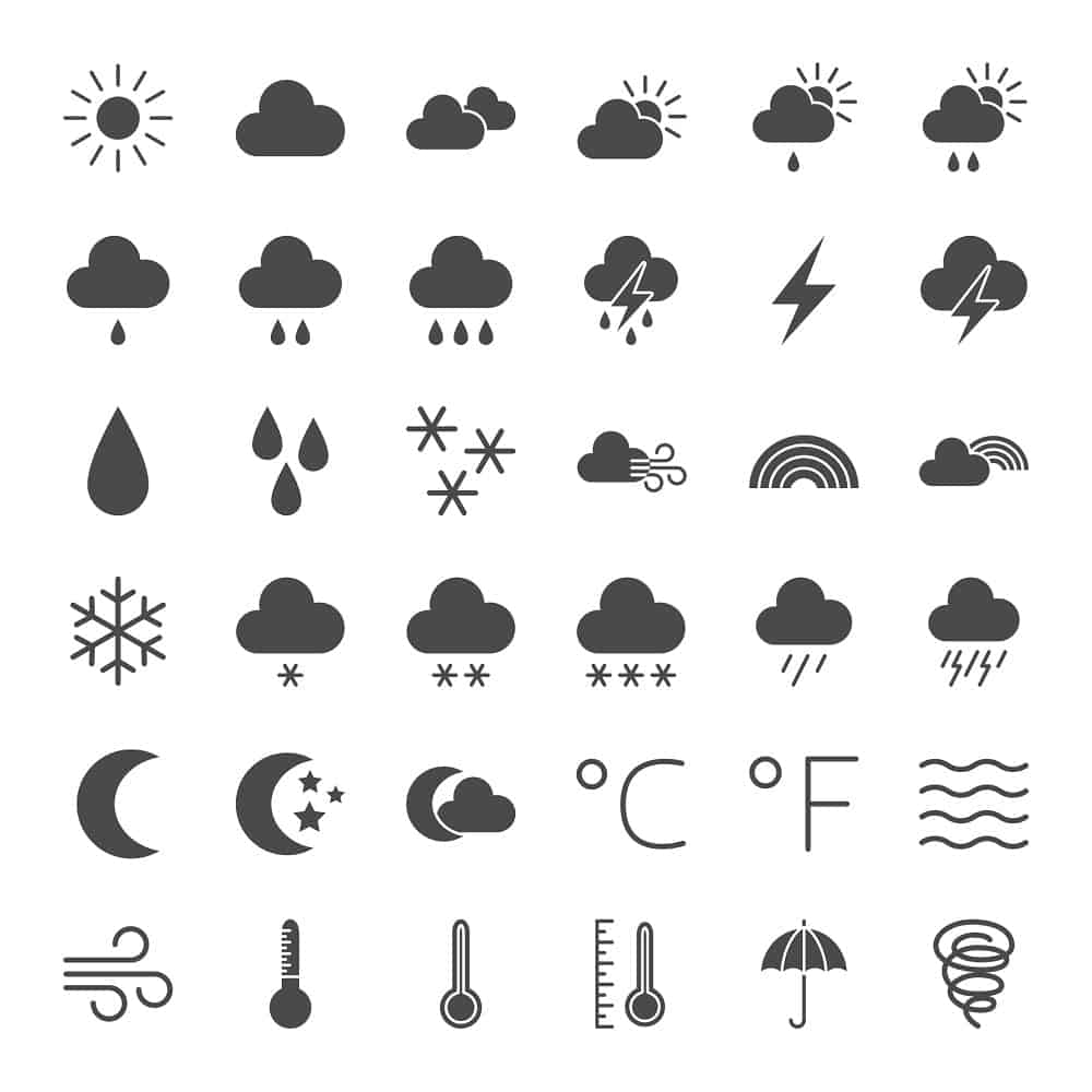 A set of various weather symbols and representations.