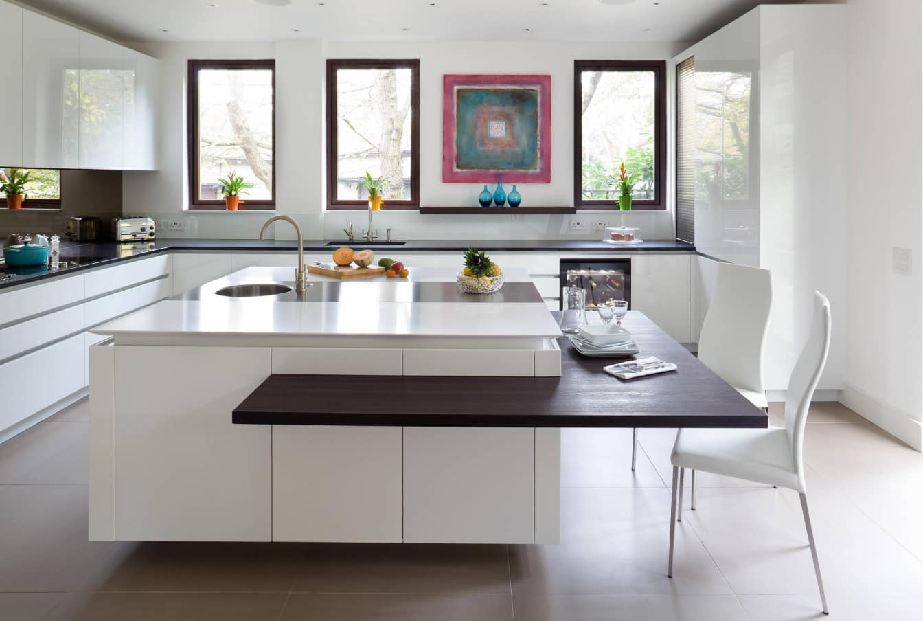 Modern Kitchen Sink Design within Stylish Interior. Black wooden skirting of the square island