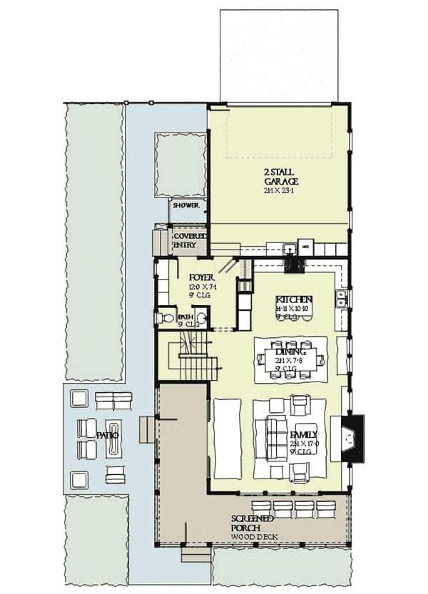 Main level floor plan of a three-story 4-bedroom beach house with a screened porch, family room, dining room, kitchen, 2 stall garage, and an open patio.